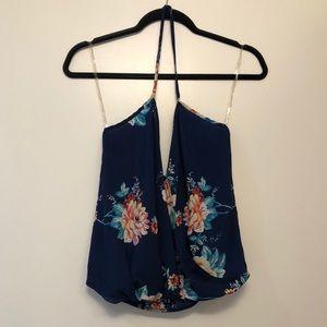 Charlotte Russe Blue Floral Halter Top
